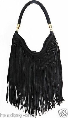 Handbag Bliss Italian Genuine Suede Tassel Slouch Handbag Shoulder ...