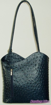 ... SHOULDER BAG RUCK SACK NAVY BLUE ITALIAN LEATHER OSTRICH PRINT WOW
