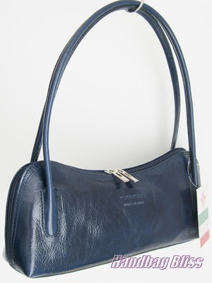 ... BLUE HANDBAG SHOULDER BAG SMOOTH TOP QUALITY ITALIAN LEATHER SMALL