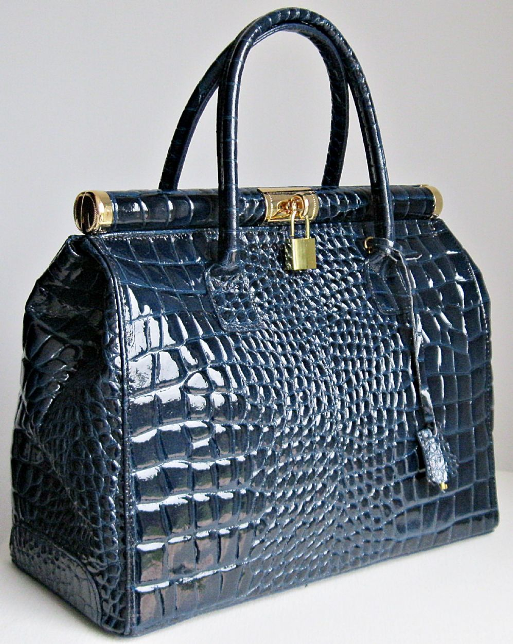 NAVY BLUE ITALIAN PATENT LEATHER MOCK CROC HANDBAG FRAMED GLADSTONE LG ...