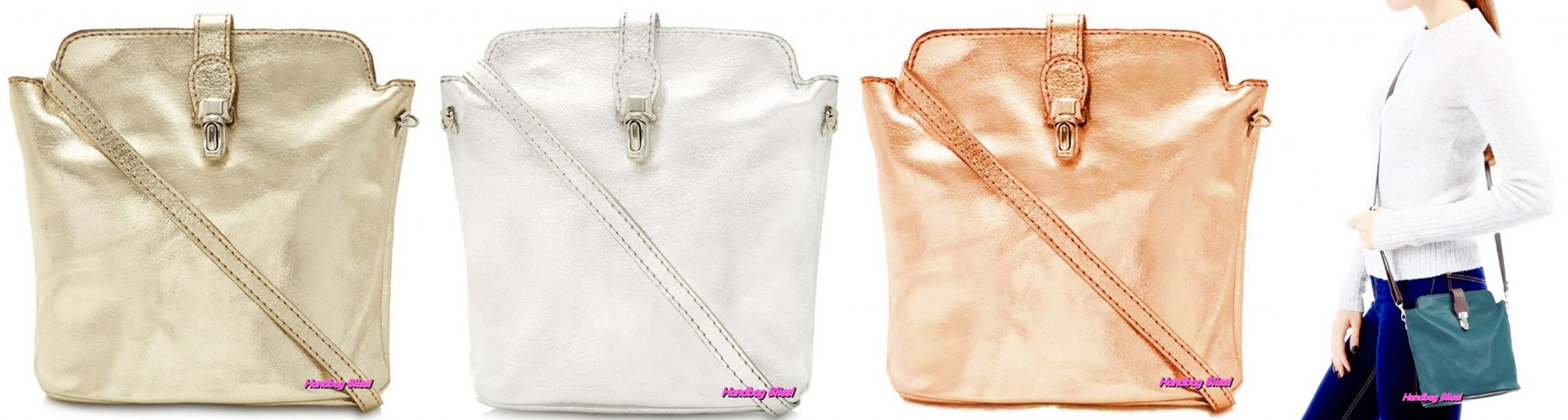 Handbag Bliss Beautiful Metallic Italian Soft Leather Small Cross Body or Shoulder  Bag 9a6fe9d9f0299