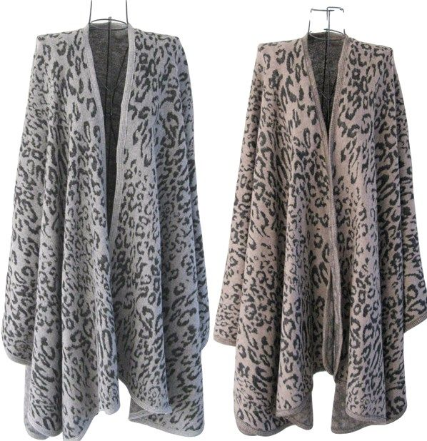 New Animal Print Shawl Wrap Cape in Two Colour Ways One Size